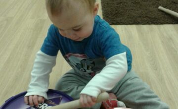 The babies have been making music and exploring christmas decorations