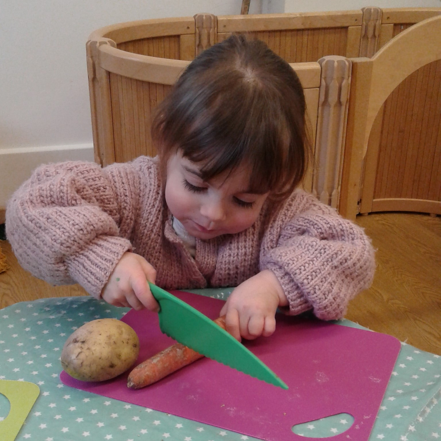 The toddlers have been exploring all kinds of different vegetables.