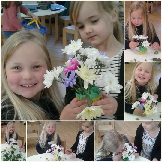 Pre-school 2 have been flower arranging using playdough and fresh flowers.