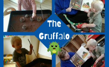 Our youngest Shooting Stars enjoy messy, sensory play and bringing their favourite stories to life