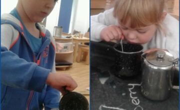 The children are learning a quintessentially British skill - the art of tea making!
