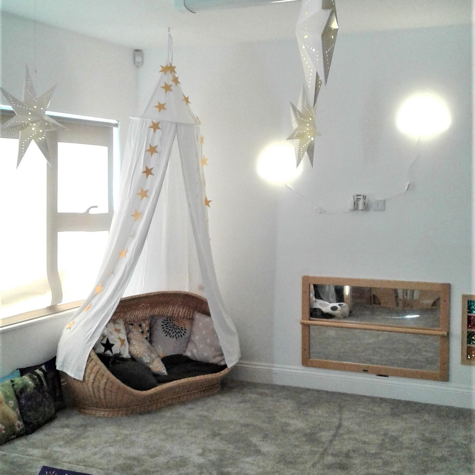 We have rearranged the toddler room to extend the cosy area